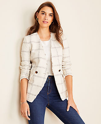Ann Taylor Windowpane Tweed Double Breasted Blazer