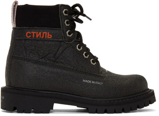 Heron Preston Black Recycled LH Worker Boots