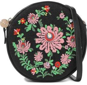 Clare Vivier Le Cercle Embroidered Canvas And Leather Shoulder Bag
