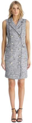 Karl Lagerfeld Paris Sleeveless Tweed Blazer Dress with Front Pocket