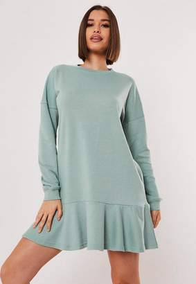Missguided Green Frill Hem Sweater Dress
