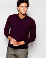 Ted Baker 100% Merino Wool Long Sleeve Colour Block Knitted Polo Shirt - Red