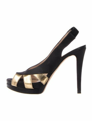 Fendi Leather Trim Embellishment Slingback Sandals Black