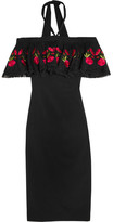 Temperley London Lyra Off-the-shoulder Embroidered Stretch-crepe Dress - Black