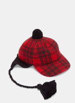 Gucci Men's Peruviano Tartan Ear Flap Tasselled Cap In Red And Black