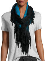 Neiman Marcus Ball-Fringe Ombre Wrap Scarf, Blue/Black