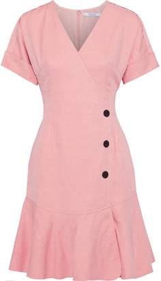Derek Lam 10 Crosby Wrap-effect Button-embellished Twill Mini Dress