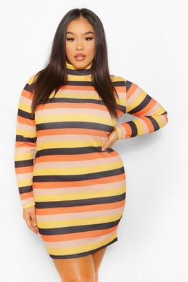 boohoo Plus High Neck Stripe Mini Dress