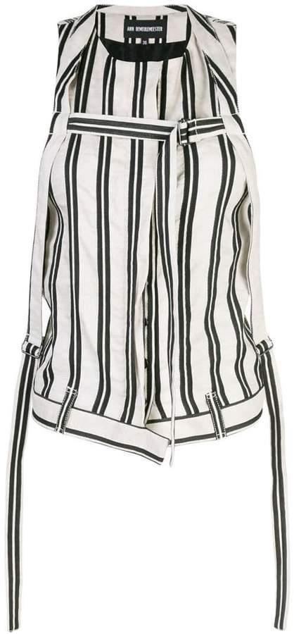Ann Demeulemeester striped buckled gilet