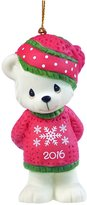 """Precious Moments 161007 Christmas Gifts, """"Beary Cozy Christmas"""", Dated 2016, Bisque Porcelain Ornament"""