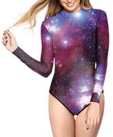 Wowforu Women's Galaxy Printing One Piece Long-sleeve Surf Sporty Swimsuit