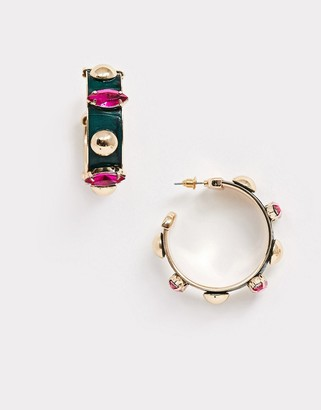 ASOS DESIGN hoop earrings with faux leather inlay and jewel studs in gold tone