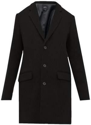 A.P.C. Visconti Single Breasted Wool Blend Overcoat - Mens - Black
