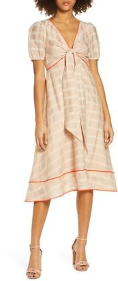 Foxiedox Dess Plaid Tie Front Midi Dress