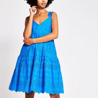River Island Womens Blue sleeveless broderie midi dress