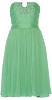 Halston Sequin-embellished ruched georgette dress