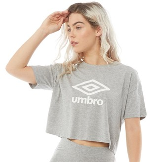 Umbro Womens Active Style Large Logo Cropped T-Shirt Grey Marl/White