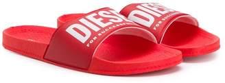 Diesel TEEN logo strap slides