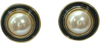 One Kings Lane Vintage Givenchy Classic Glass Pearl Earrings - Wisteria Antiques Etc - black/gold/pearl