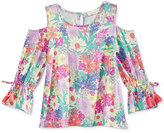 Jessica Simpson Floral-Print Cold-Shoulder Top, Big Girls (7-16)
