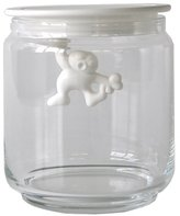 Alessi A Di Glass Gianni Jar A Little Man Holding On Tight Small Kitchen Box with Hermetic Lid in Thermoplastic Resin, White