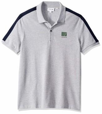 Lacoste Men's Short Sleveve Mini Pique Stretch Stripe Sleeve Slim Fit Polo