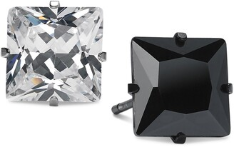 Sutton by Rhona Sutton Men's Two-Tone 2-Pc. Set Square Cubic Zirconia Stud Earrings