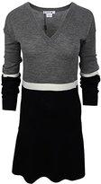 Lacoste Women's Long Sleeve Color Block Wool Sweater Dress