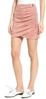 Soprano Women's Ruched Faux Suede Miniskirt