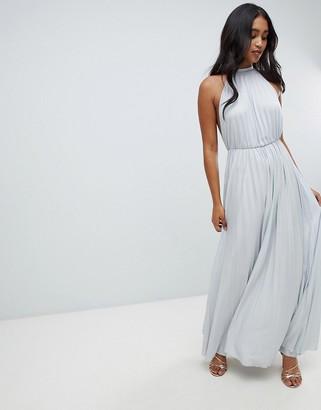 Asos Design DESIGN high neck pleated maxi dress-Grey