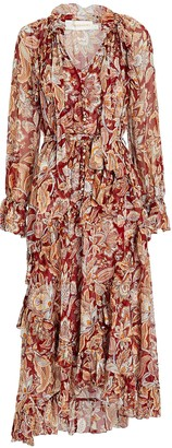 Zimmermann Lucky Ruffled Floral Midi Dress