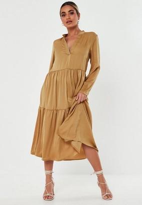 Missguided Petite Mustard Satin Tiered Smock Dress