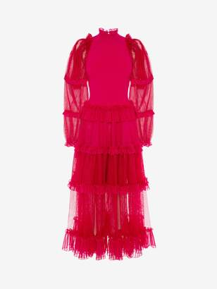 Alexander McQueen Sheer Frill Midi Dress