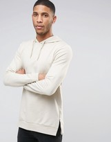 Asos Muscle Fit Longline Hoodie With Side Zips In Beige