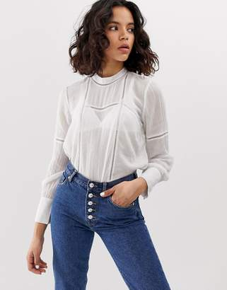 Only lace insert cheesecloth blouse-White