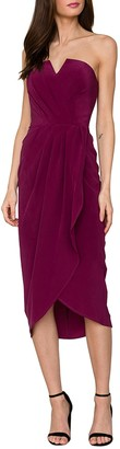 Yumi Kim Glamour Night Strapless Silk Midi Dress