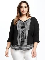 Old Navy Boho Plus-Size Embroidered Swing Top