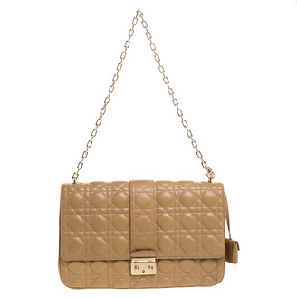 Christian Dior Beige Cannage Leather Miss Chain Shoulder Bag
