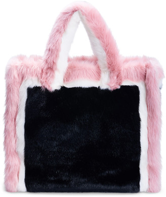 Stand Studio Lola Large Color-Block Faux-Fur Tote