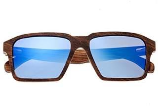 Earth Wood Piha Sunglasses W/Polarized Lenses - Red Rosewood/Blue