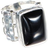 Barse Onyx & Silvertone Triple-Band Ring