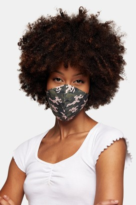Topshop Womens **Camouflage Print Fashion Face Mask - Green