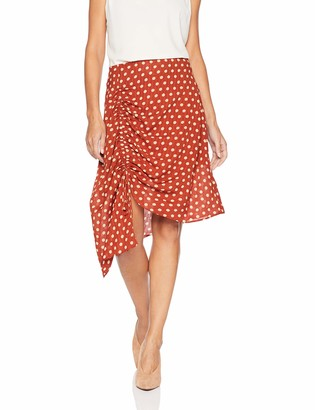 J.o.a. Women's Polka Dot Asymmetrical Ruched Midi Skirt
