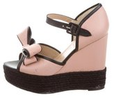 Valentino Bow-Accented Espadrille Wedges