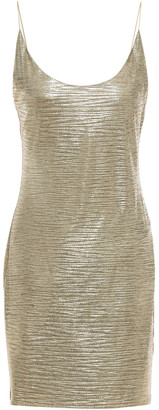 Alice + Olivia Nellie Metallic Crinkled Stretch-jersey Mini Slip Dress