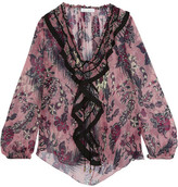 Chloé Ruffled Printed Silk-crepon Blouse - Antique rose