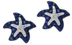 Effy 14K White Gold Sapphire and Diamond Starfish Stud Earrings