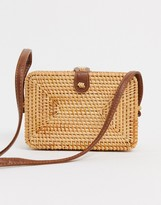 Asos Design DESIGN rattan structured square cross body bag