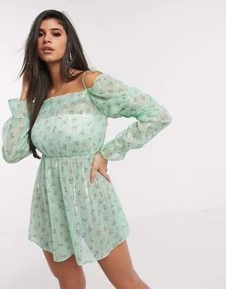 Asos Design DESIGN fallen shoulder lurex chiffon beach dress in apple green ditsy floral print