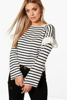 boohoo Plus Katie Ruffle Stripe Knitted Jumper